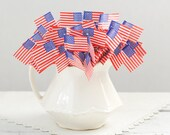 Flag Toothpicks - Classic Paper American Flag Party Picks, Pack of 100