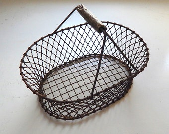 Rusty French Antique Metal Basket Rustic and Handmade
