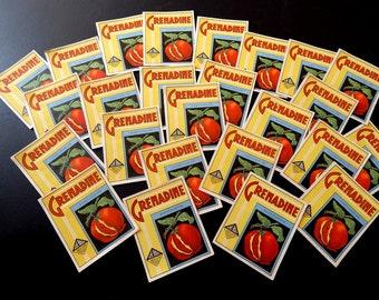 25 Vintage French Grenadine Drinks Labels 1920-30s Not Reprints