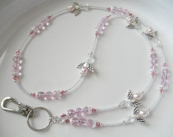 Sweet Pink Angel Lanyard ID Badge Holder - Pink and White Clear AB Crystal and Pearl Lanyard - Pink Ribbon Awareness - Breast Cancer Lanyard