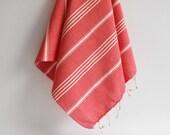 Set 2 Head and Hand Towel Peshkir - Red Orange (white striped)