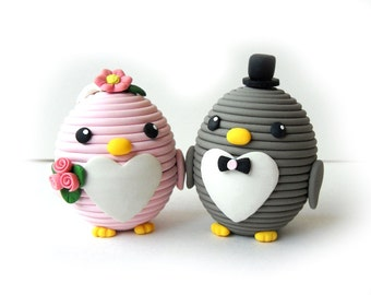 Polymer Clay Cute Oval Animal Wedding Cake Topper - Pink and Grey Penguins - Heart