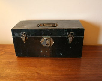 Vintage Black Kennedy Kit Metal Tool Box - Rustic - Industrial Chic - Kennedy Manufacturing Company