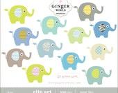 baby elephant clip art pastel blue for boy (CA265)