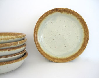 McCoy Stoneware Bowls Salad Set Graystone Greystone Golden Tan Drip 1970s