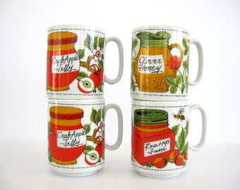 Vintage Mug Set Stackable Coffee Tea Cups Ceramic Natural Organic Gift Homemade Jelly Jam Honey Flowers Bee Fruit Design