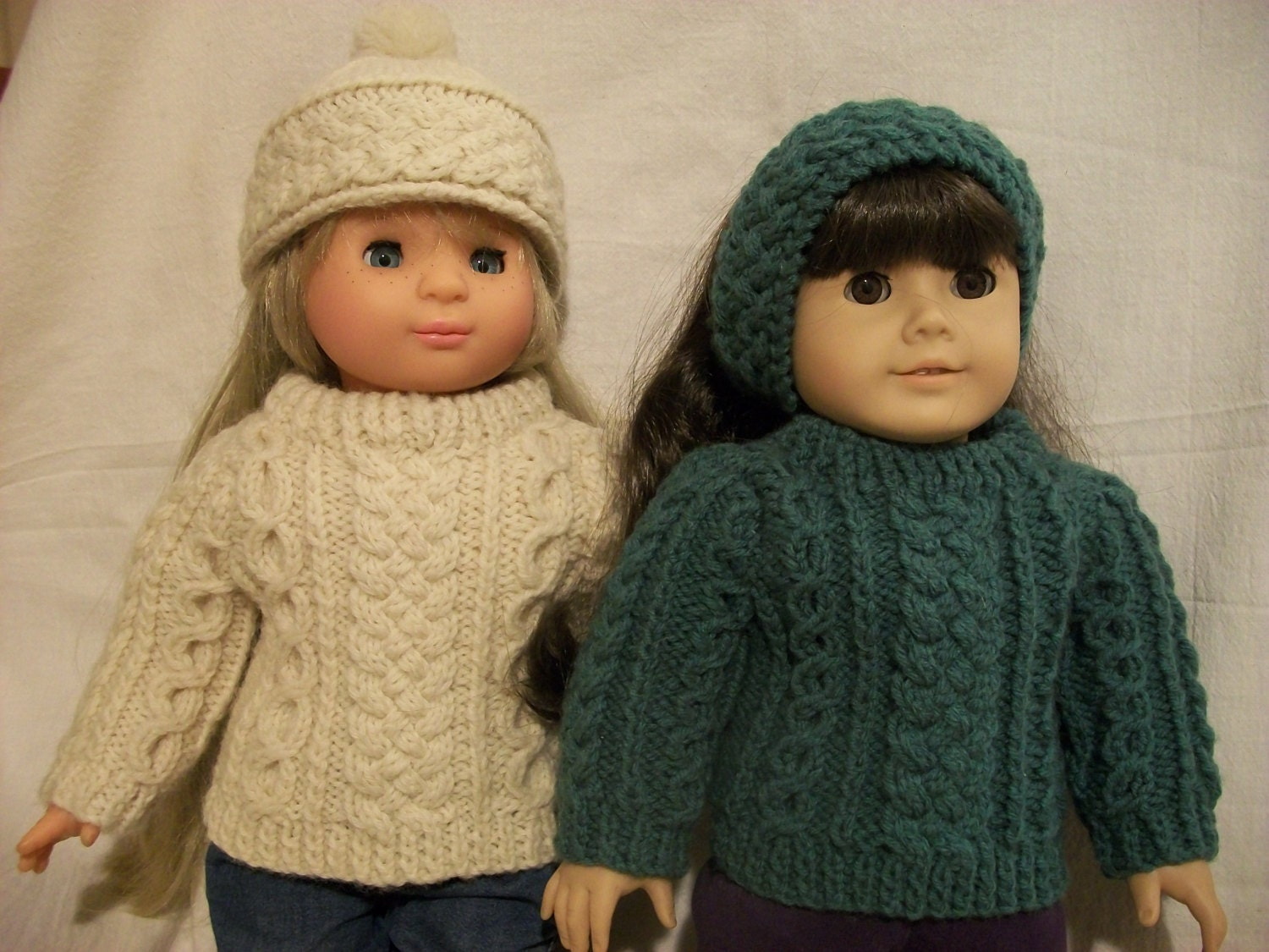 18 Doll Knitting Patterns : 18 inch Doll Knitting Pattern Irish Fisherknit Sweater Hat PDF