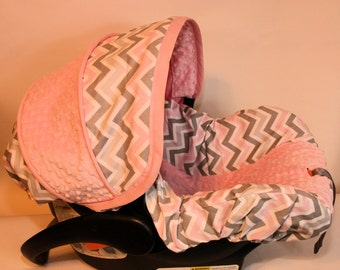 Grey White Pink Chevron with PInk minky-  Girl Infant car seat cover- Custom Order - Includes Free Strap Covers