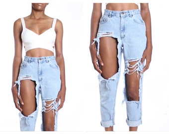 All SIZES  Destroyed High Waist  Jeans
