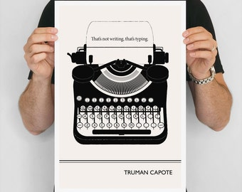 """Large Art Poster, """"Truman Capote"""" Quote Literary Art Prints, Minimalist Illustration, Large Wall Art Quote Prints, Writer Gift, Office Art"""