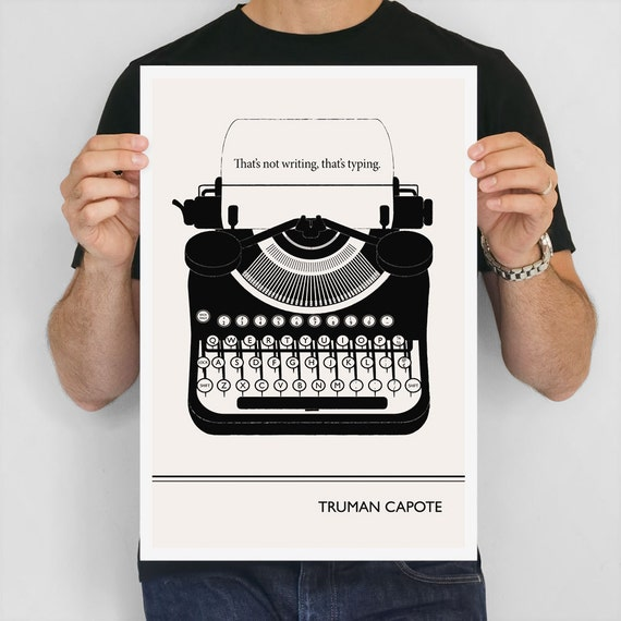 "Large Art Poster, ""Truman Capote"" Quote Literary Art Prints, Minimalist Illustration, Large Wall Art Quote Prints, Writer Gift, Office Art"
