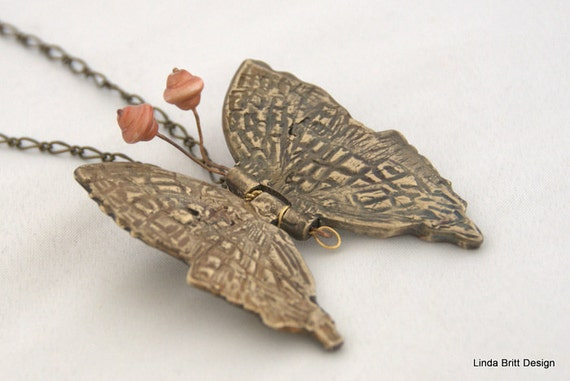 Butterfly Pendant - Hinged  Pendant - Butterfly Necklace - Bronze with Pearl Pendant