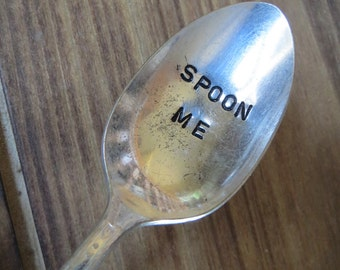 Vintage Spoon, Celebration Spoon, Teaspoon, Coffee, Spoon Me, Love Spoons, Hand Stamped Spoon, Table Decor, Weddings, Favor, Ready to Ship