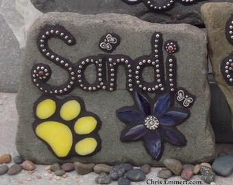 Smaller Pet Memorial Garden Stones - Mosaic Custom Order