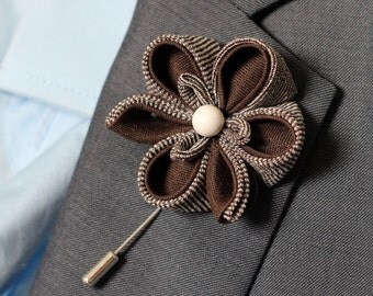 Rustic wedding boutonniere, Ochid flower lapel pin, lapel flower pin, lapel pin, Brown, natural eco, Orchid lapel flower, wedding boutonnier