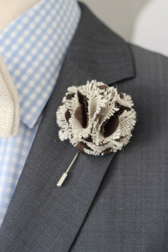 Burlap And Chocolate Brown Wedding Boutonniere Rustic