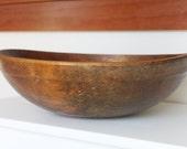 """Large Wooden Antique Primitve Dough Bowl - 17"""""""