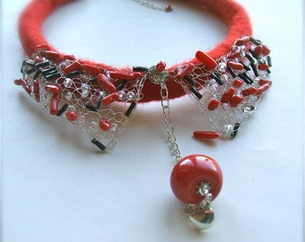Red felt necklace with  Silver Metal details and beads- Felt necklace- handmade