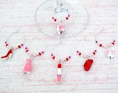 Bridal Shower Wine Charms - Set of 6 Fashion Wine Glass Charms
