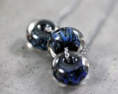 Midnight Blue Necklace, Inky Indigo Lampwork Boro Glass Oxidized Sterling Silver Necklace Women's Jewelry - Abyss