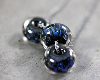 Midnight Blue Necklace, Inky Indigo Lampwork Boro Glass Oxidized Sterling Silver Necklace Women's Jewelry - Abyss