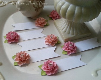 Place Cards - Escort Cards - Paper Flowers - Weddings - Table Decorations - Shades of Pink  - Made To Order - SET OF 50