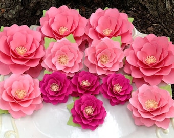 Paper Flowers - Elizabeth Rose - Set of 24 - Shades of Pink - Weddings - Table Decorations - Made To Order
