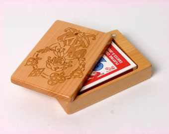 Deck of Cards Box, All Solid Maple—Laser Engraved, Paul Szewc