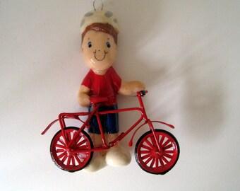 biker ornament handmade from bread dough by judy caron