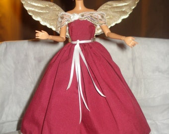 One of a kind maroon angel dress with golden wings for Fashion Dolls - ed457
