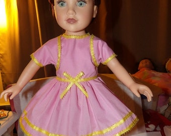 Easter pink jacket dress wih yellow trim for 18 inch Dolls - ag223