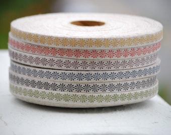 "10 YDs x 10mm (app.3/8"") Flower Stamp Printed Cotton Linen Tape Ribbon"