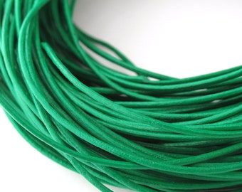 LRD0105014) 0.5mm Light Green Genuine Round Leather Cord.  1 meter, 3 meters, 6 meters, 11 meters.  Length Available.
