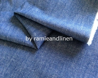 "Japanese import denim linen fabric, yarn dyed slub texture stretch linen cotton blend fabric, half yard by 46"" wide"