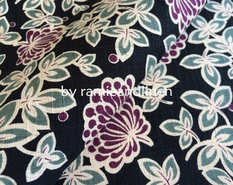 "Japanese cotton fabric, floral print slub texture cotton fabric, Upholstery Fabric, half yard, 18"" by 44"" wide"