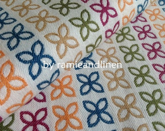 """cotton fabric, yarn dyed floral pattern jacquard cotton fabric, Fat Quarter, 18"""" by 29"""""""