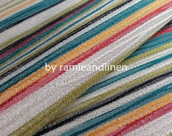 """silk fabric, weaved colorful stripes, very special silk cotton blend fabric, one yard by 44"""" wide"""