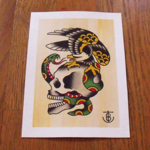 American Traditional Skull And Eagle: EAGLE SNAKE SKULL Traditional Tattoo Flash Painting Original