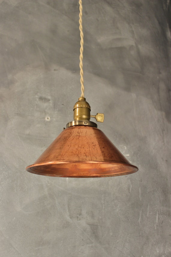 weathered copper metal weathered copper pendant lamp vintage industrial hanging