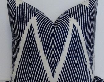 Chevron LUMBAR Pillow Cover - Designer Lacefield - Navy cotton slub - throw pillow - accent pillow decorative pillow cover