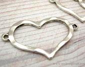 Heart Connectors, 4pc Hammered Metal Bracelet Connectors, 34x22mm