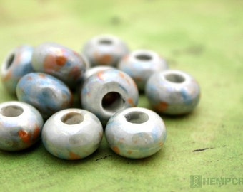 Porcelain Beads, 12pc Light Blue Pearlized Porcelain Clay Beads, 9x12mm