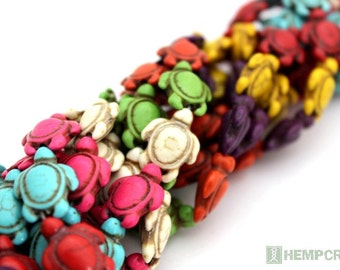 24pc Sea Turtle Beads, 15mm Colorful Stone Howlite, Stone Beads