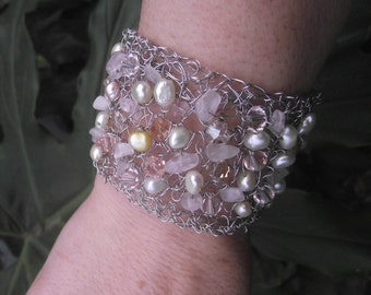 Silver Rose Quartz  and Pearl Bracelet