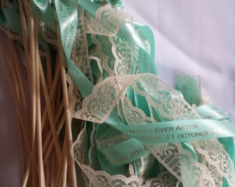 Personalized Wedding Wands set of 100 double Ribbon Lace, Custom Colors, Names, Date, weddings, baby, birthday, nautical, streamers, bubbles