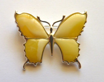 Baltic Amber Butterfly Pin Brooch Butterscotch 925 Silver