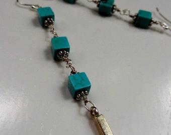 Magnesite Sterling Dangle Earrings