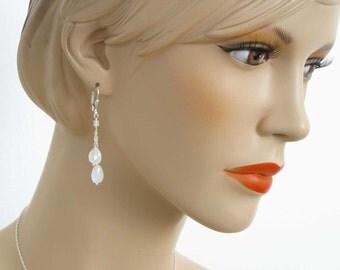 Moonstone Earrings, Elegant Moonstone Jewelry, Pretty Handmade Sterling Silver and White Moonstone Teardrop Earrings, Genuine Gemstones