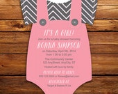 Baby Pink with Gray Chevron Print Baby Shower Invitations -- 20 Onesie die cut printed cards in any color