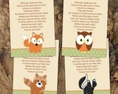 Baby Shower Book Inserts in Woodland Neutral theme -- Forest Theme -- INSTANT DOWNLOAD